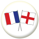 France and England Friendship Flag 25mm Pin Button Badge